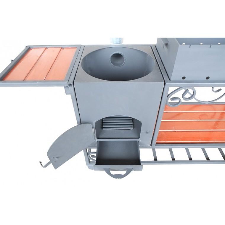 Мангал с печью под казан на 12 литров АМ22П,