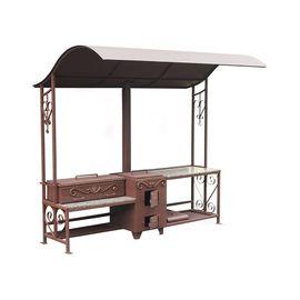"""Мангал """"Шеф-повар"""" коричневый с патиной и гранитным столом,"""