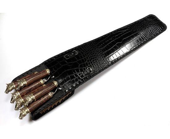 Набор для шашлыка c ножом Лошади-3 (объемная рукоять),